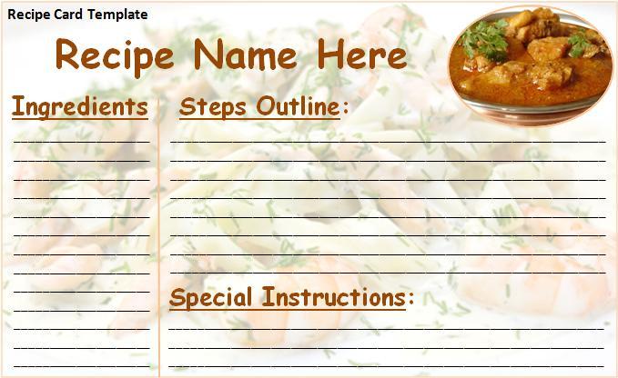 Standard Recipe Card Template – Sample Recipe Card