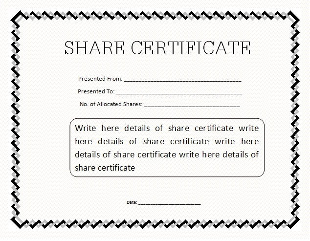 Free Share Certificate Template Free Word Templates