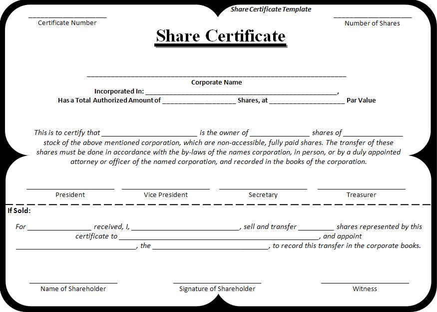 Share Certificate Templates 3+ Free Printable MS Word Formats