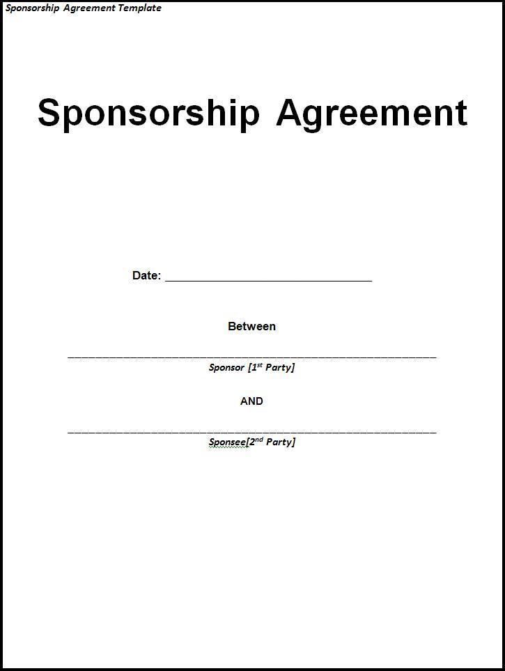 Sponsorship Agreement Template Word – Sponsorship Letter Template Word