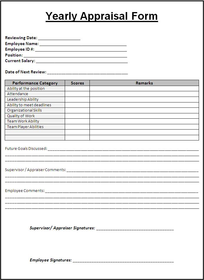 Doc693951 Sample Appraisal Form Employee Appraisal Forms – Monthly Appraisal Form