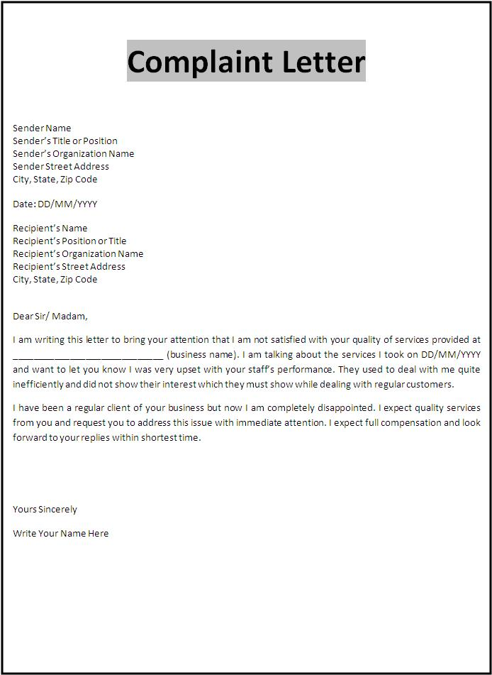 letter of complaint template free