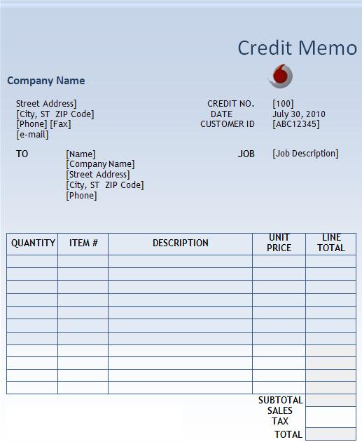 credit note template word