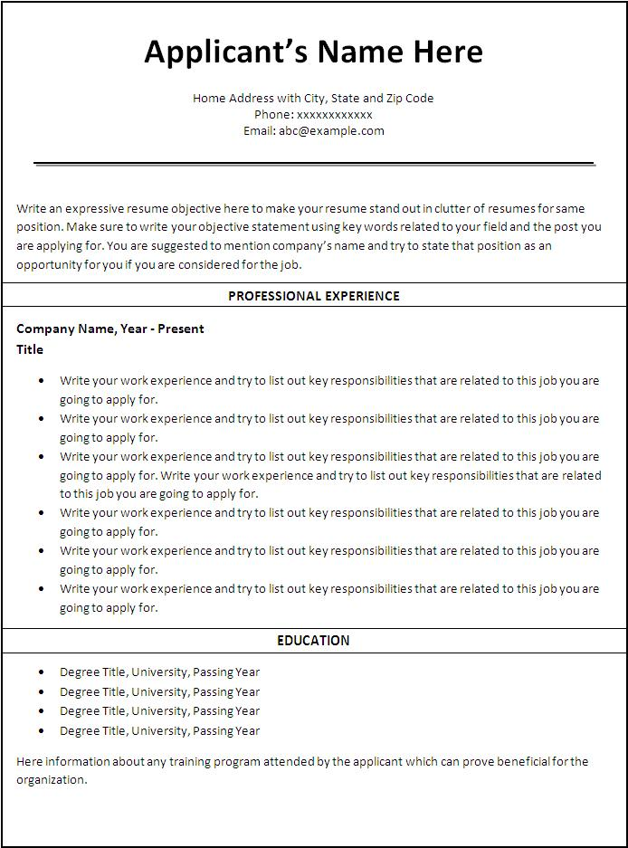 Job Resumes Templates First Job Resume Free Download First Job - first job resume sample
