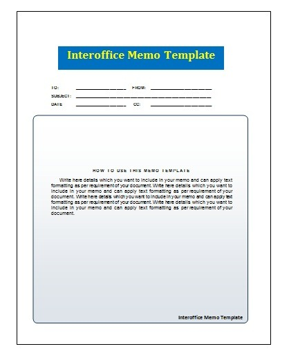 Interoffice Memo Template Free Printable MS Word Format