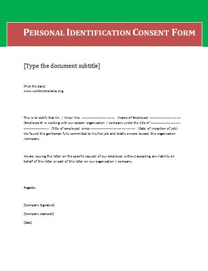 Blank Consent Forms Free Word Templates