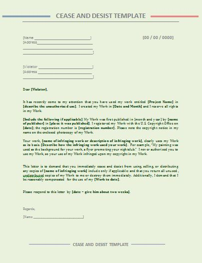 Cease and Desist Letter Free Printable MS Word Samples - cease and desist template