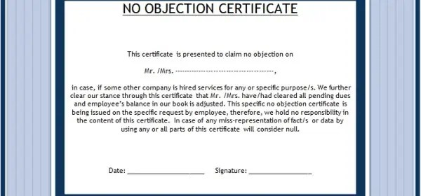 no objection letter sample for job – No Objection Letter for Employee