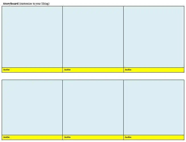 Storyboard Templates - Excel xlts
