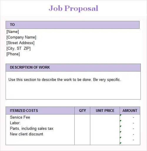 3 Job Proposal Templates - Excel xlts