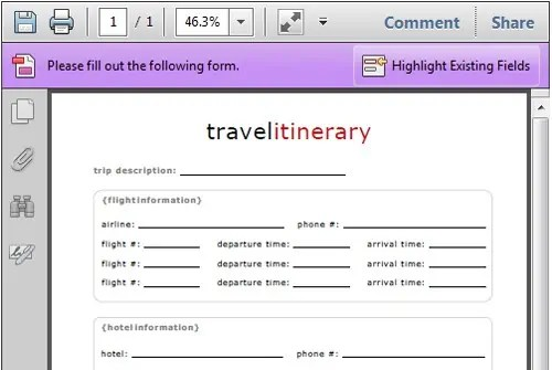 4 Travel Itinerary Templates - Excel xlts