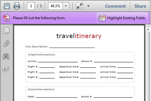 blank itinerary template - Artij-plus