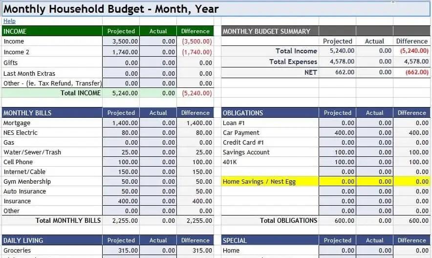 Home Budget Spreadsheet Home Budget Worksheet Standart Home Budget