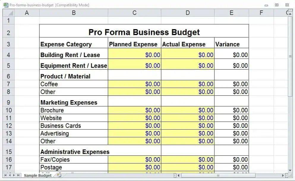 4 pro forma budget templates