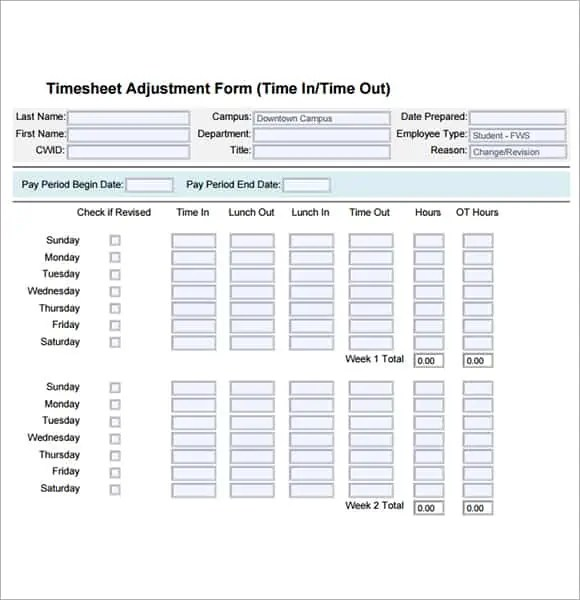 4 Free Printable Time Cards Templates - Excel xlts
