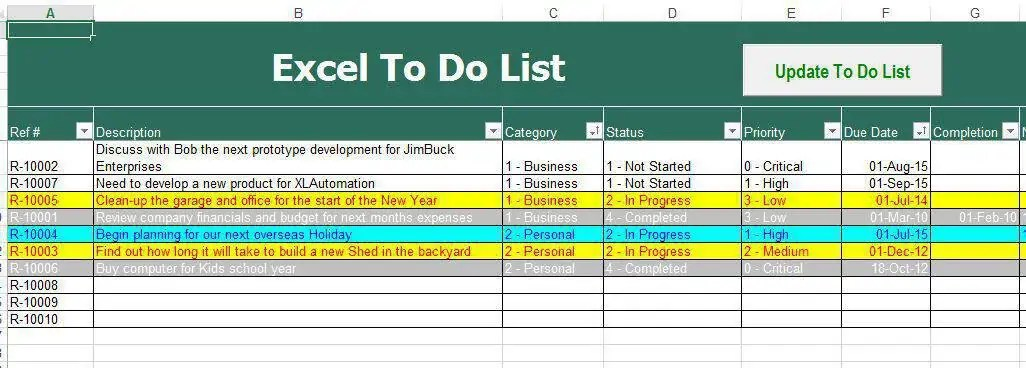 5 Printable To Do List Templates - Excel xlts