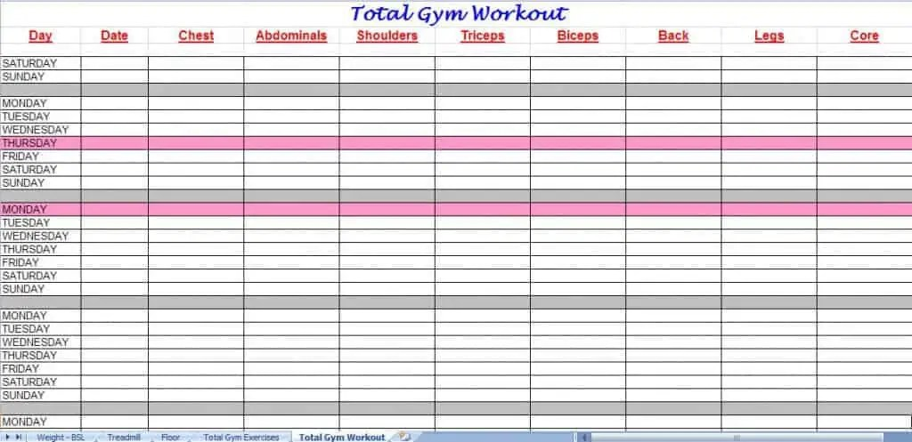 exercise schedule template - Josemulinohouse - workout char template