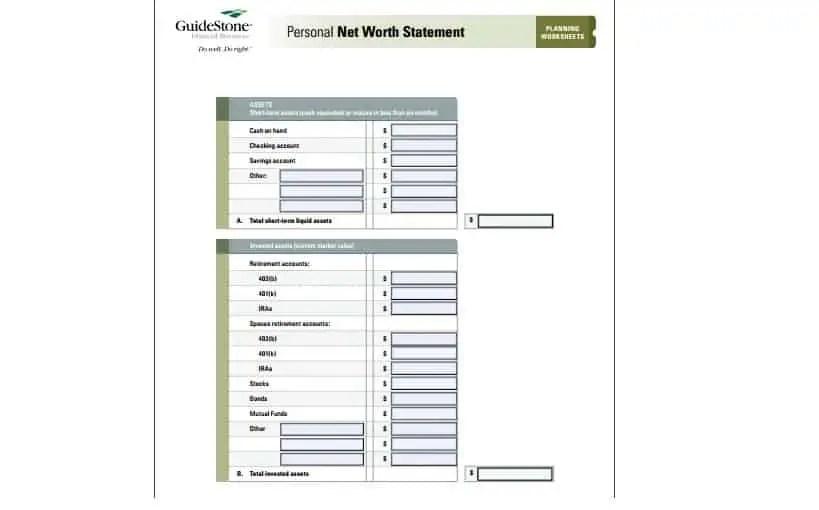 4 Net Worth Statement Templates - Excel xlts