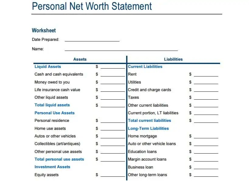 4 Net Worth Statement Templates - Excel xlts
