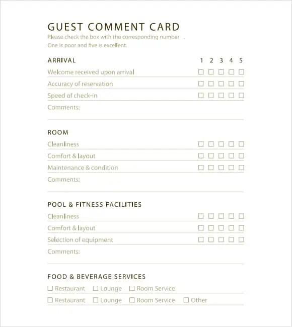 5 Restaurant Comment Card Templates - Excel xlts