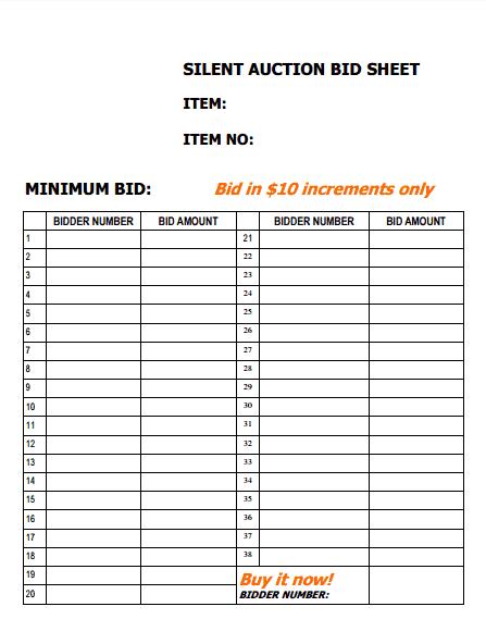 silent auction bid sheet template 33