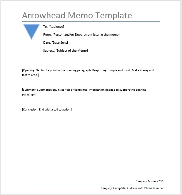 Arrowhead Memo \u2013 Word Template \u2013 Microsoft Word Templates - memo sample in word
