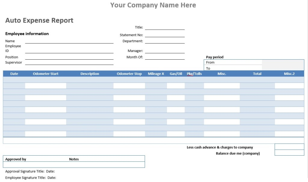 Auto Expense Report \u2013 Word Template \u2013 Microsoft Word Templates
