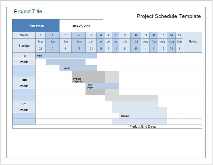 Project Schedule Template \u2013 Microsoft Word Templates
