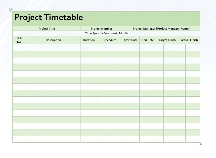 Project Timetable \u2013 Word Template \u2013 Microsoft Word Templates - project timetable