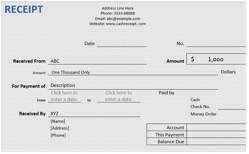 Cash Receipt \u2013 Word Template \u2013 Microsoft Word Templates