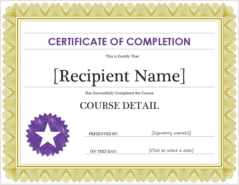 Free Certificate of Completion Template \u2013 Microsoft Word Templates