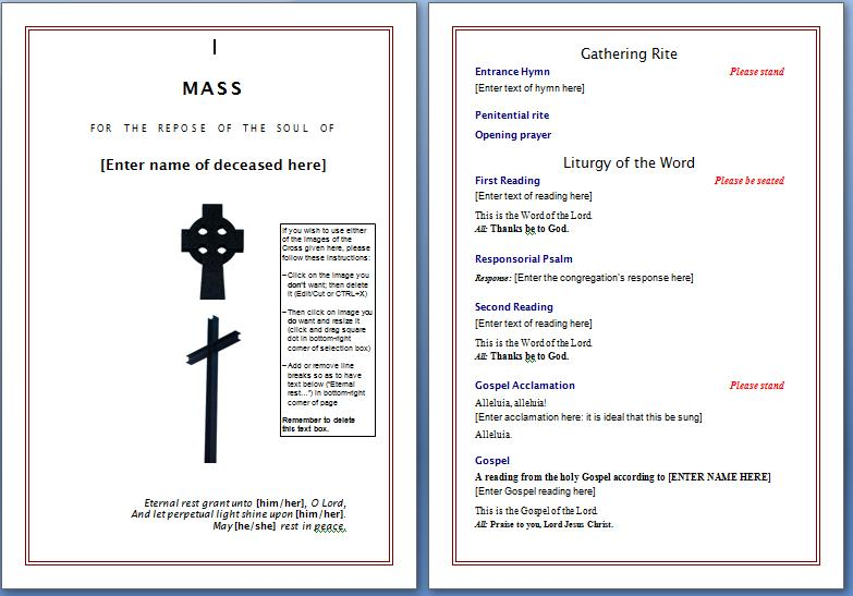 funeral program template word - free template for funeral program