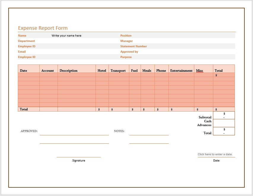 Free Expense Report Form \u2013 Microsoft Word Templates
