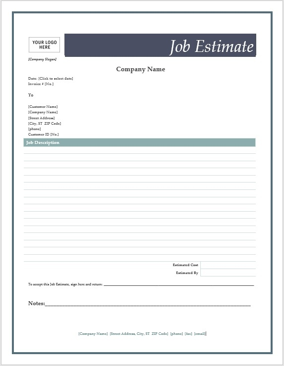 Free Job Estimate Forms \u2013 Microsoft Word Templates