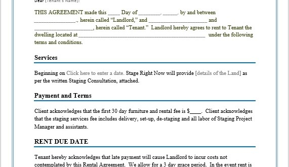 Rental Agreement Template \u2013 Microsoft Word Templates