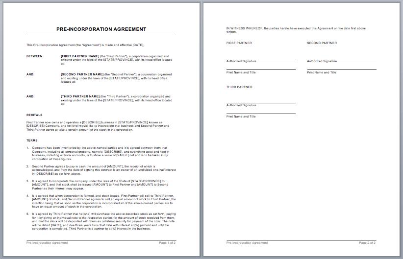 Partnership Contract Template Microsoft Word Templates
