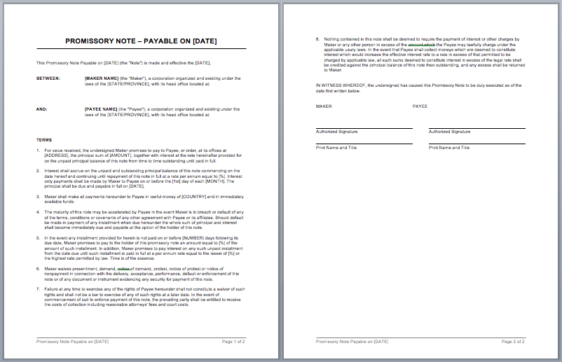 Promissory Note Word Template – Promissory Note Word Document