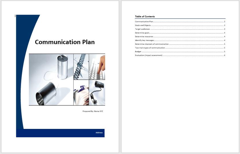 free communication plan template word