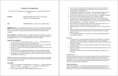 Consumer Loan Agreement Template – Microsoft Word Templates