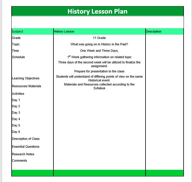 microsoft lesson plan template