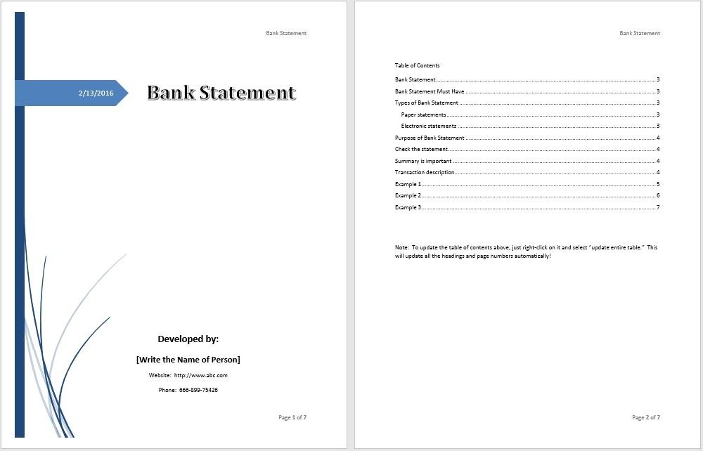 Bank Statement Template \u2013 Microsoft Word Templates