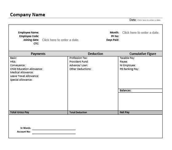 14 Salary Slip Format  Templates \u2013 Microsoft Word Templates