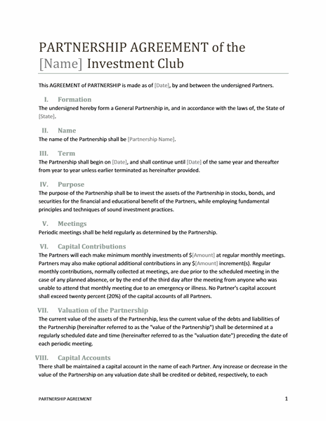 Investment Agreement Contract Sample 9 Investment Contract Templates Free  Word Pdf Partnership Contract Template Format And