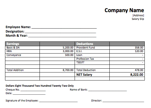 Payroll Receipt Template – Employee Payroll Template