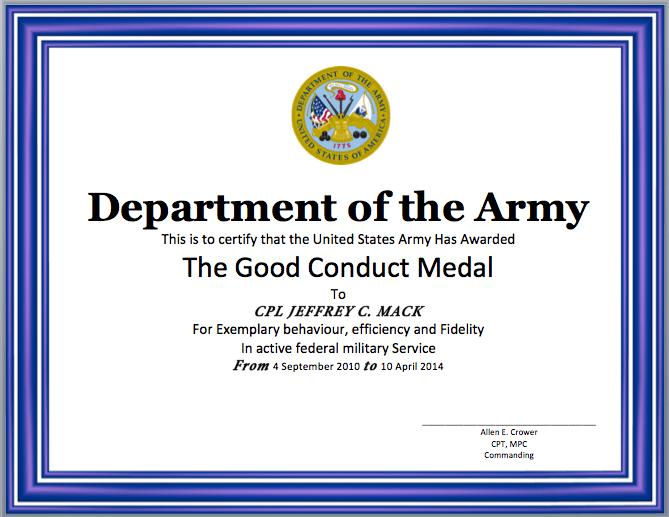 Certificate Of Good Conduct Template Erieairfair