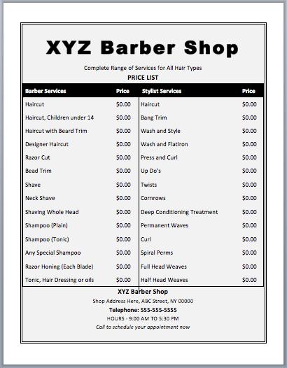 price list brochure template