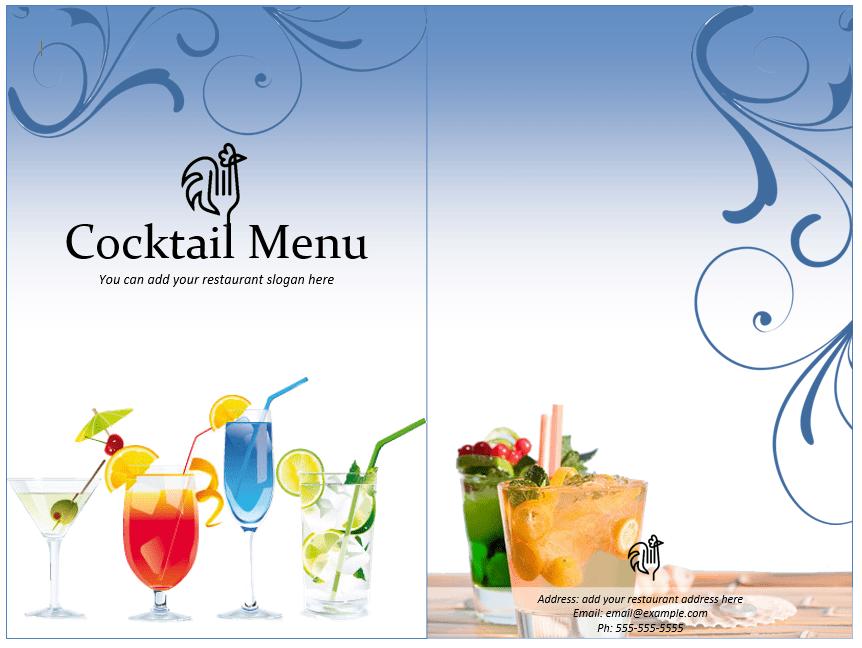 drinks menu template word