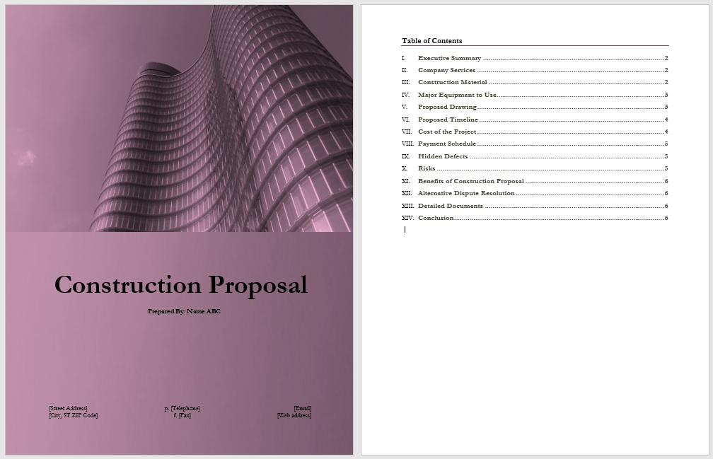 14 Free Construction Proposal Templates - Word Templates - construction proposal template word