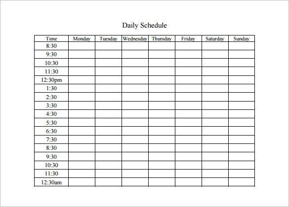 Daily Schedule Templates - Word Templates Docs