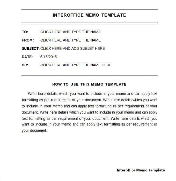 Interoffice Memo Templates - Word Templates Docs - memo sample templates